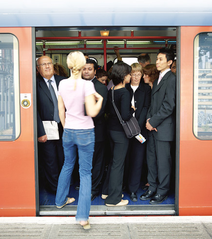 woman boarding a train